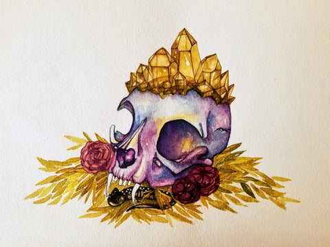 Watercolor of an animal skull with crystals, roses, and greenery.