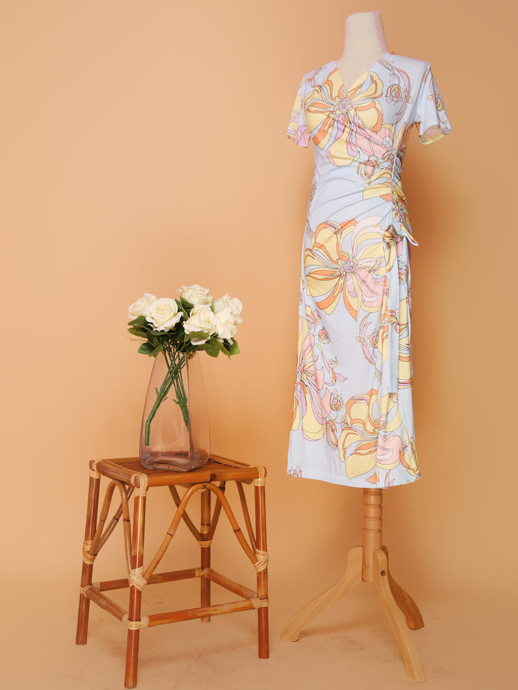 Pastel Pucci Side Ruched Dress