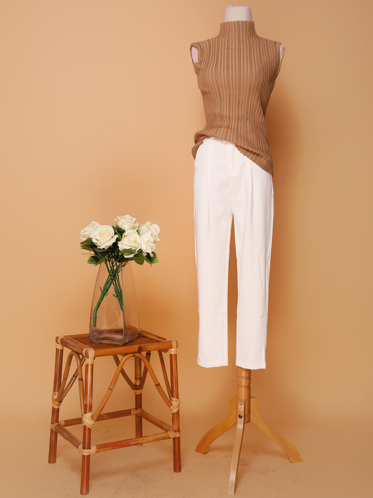 Camel Sleeveless High Neck Knit Top