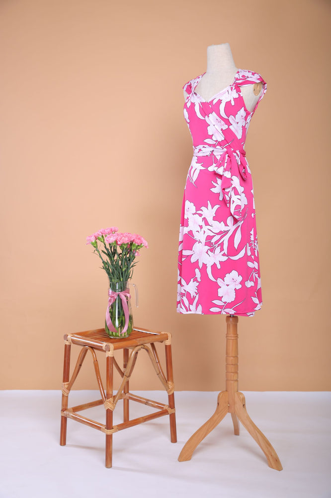 Fuschia-love Pleated Midi  Wrap Dress