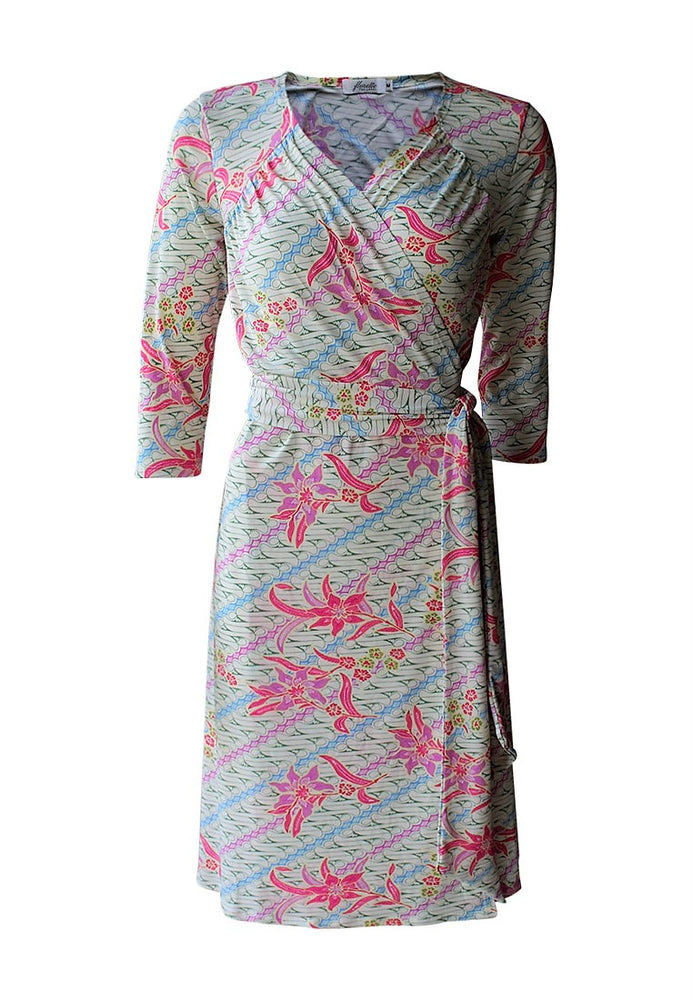 Kuntum Gathered Midi Wrap Dress