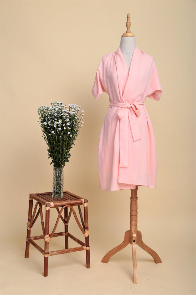 Multi-way Linen Drape Wrap Dress (Blush)
