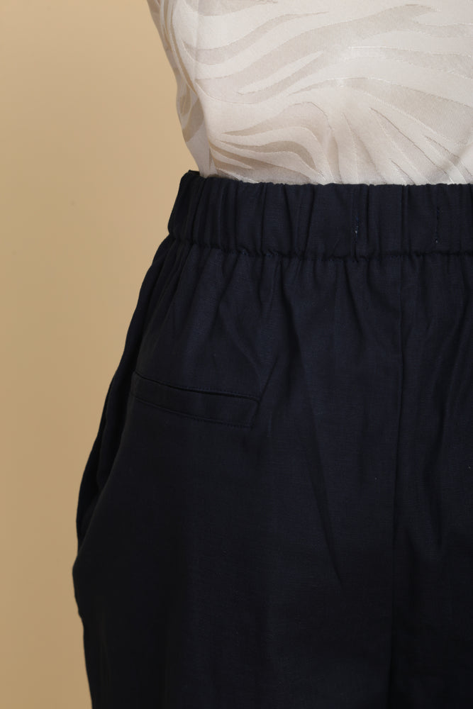 High-waist Linen Cigarette Pants (Navy)