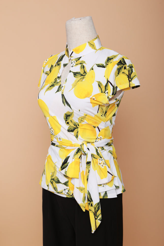 Load image into Gallery viewer, Summer in Capri Mandarin Collar Wrap Top