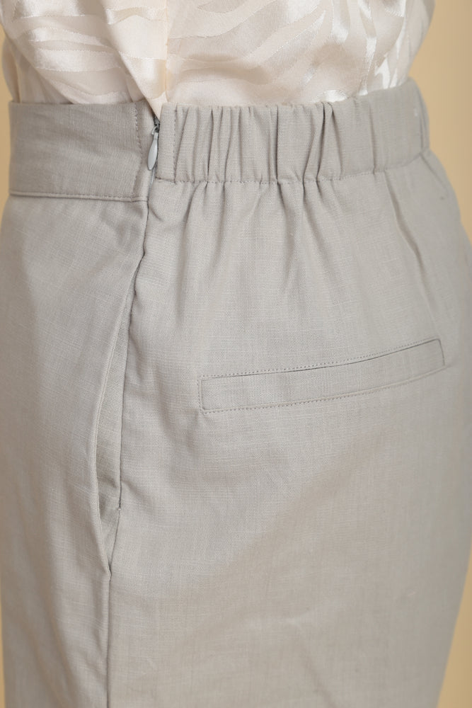 High-waist Linen Cigarette Pants (Khaki)