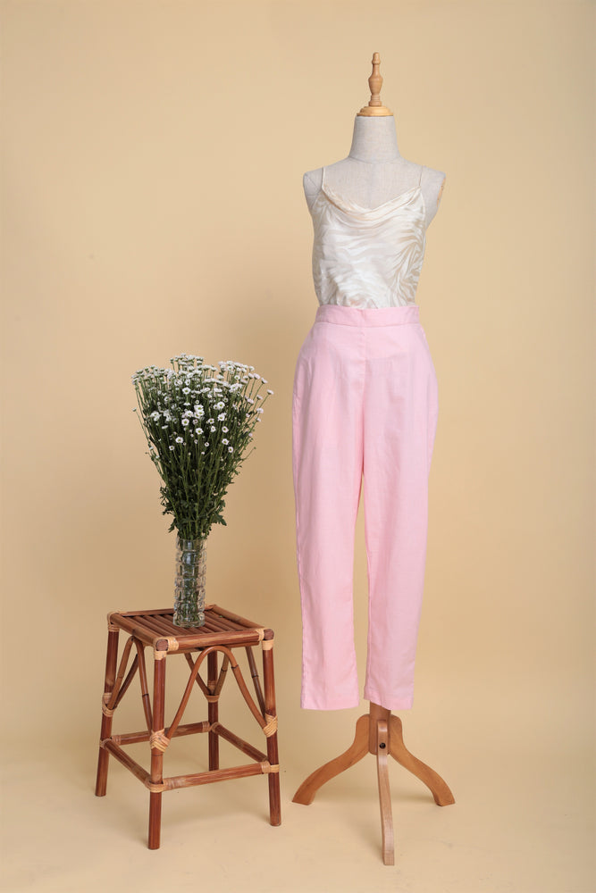 High-waist Linen Cigarette Pants (Flamingo)