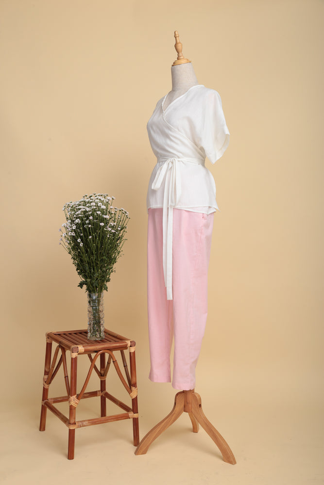Wrap Linen Top (Off-white)