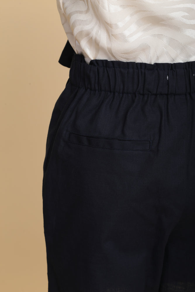 Classic Linen Paperbag Shorts (Navy)