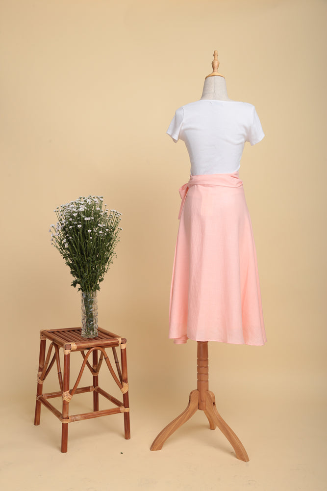 Flowy Linen Wrap Skirt (Blush)