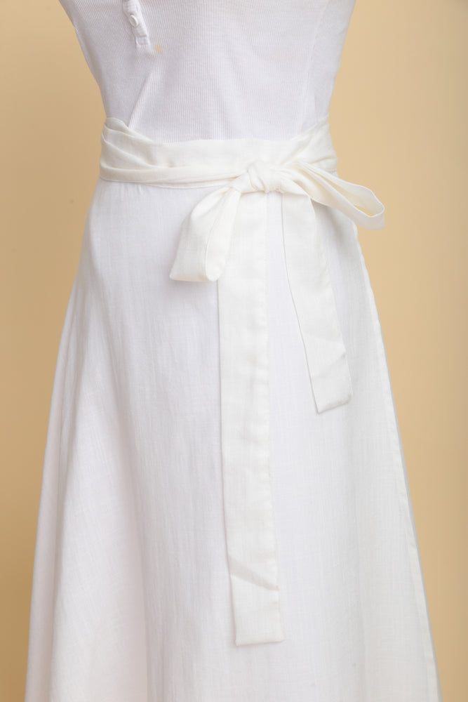 Flowy Linen Wrap Skirt (Off-white)