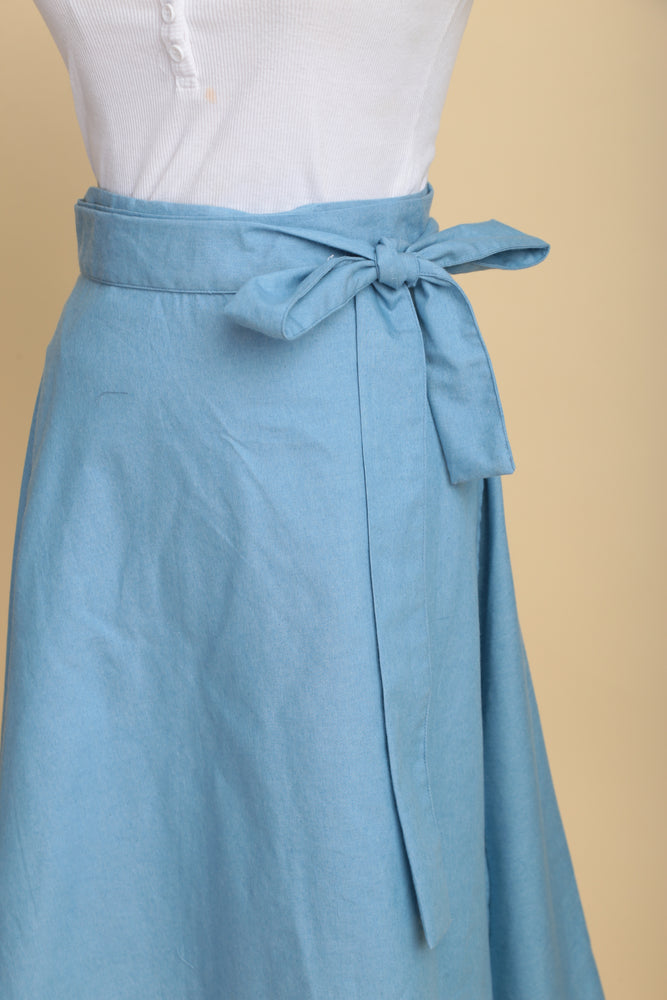 Flowy Chambray Wrap Skirt