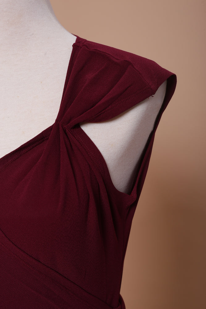 Merlot Maxi Ruffle Wrap Dress