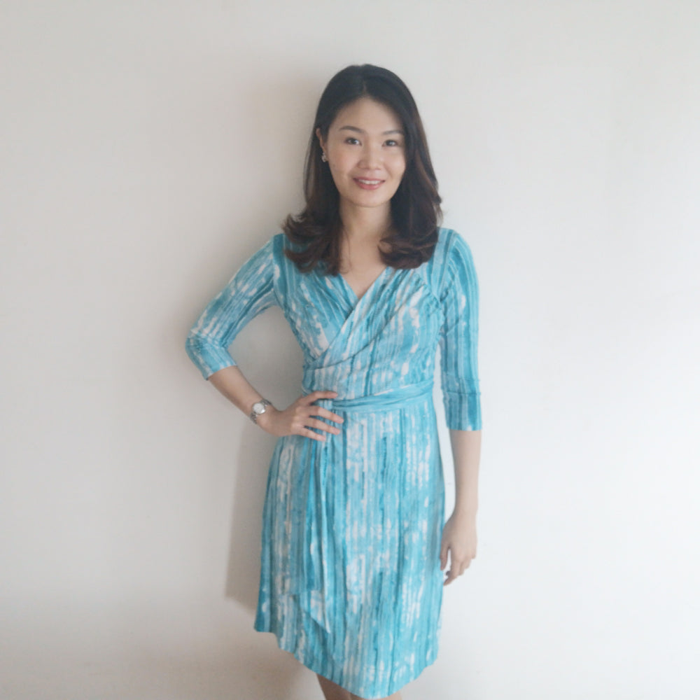 Onde Gathered Midi Wrap Dress