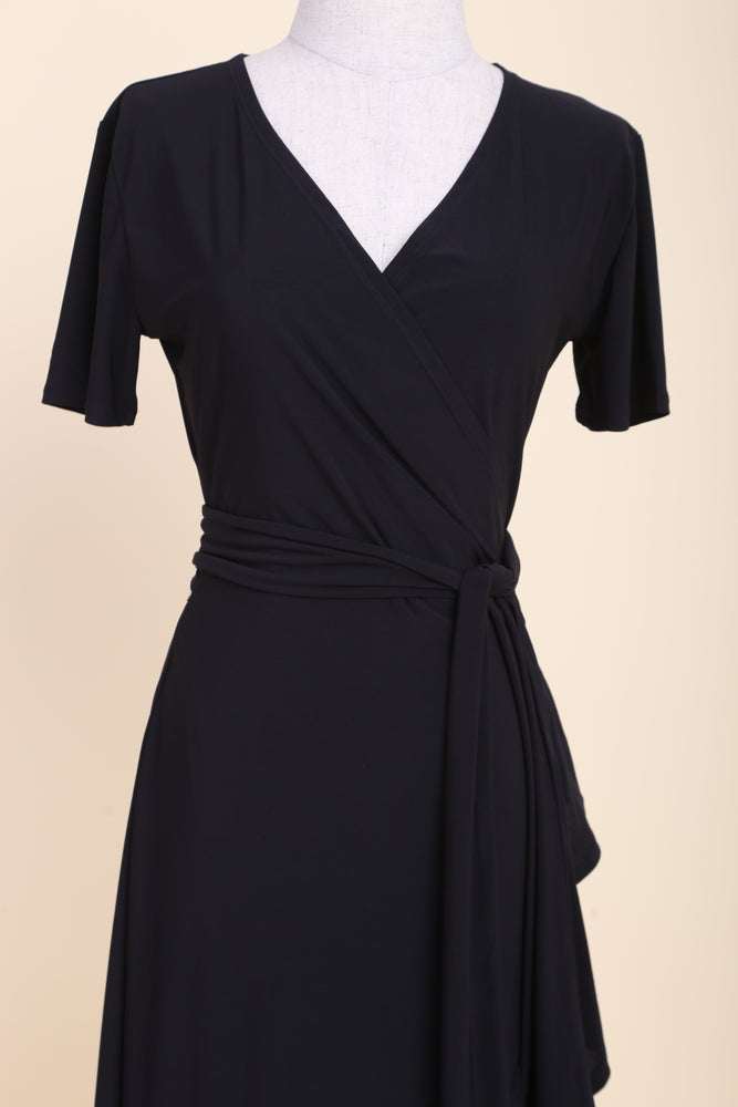 Drea Midi Ruffle Wrap Dress (Navy)