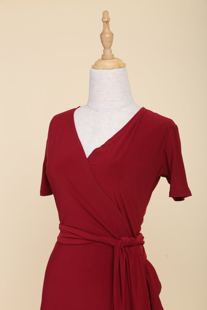 Drea Midi Ruffle Wrap Dress (Scarlet)