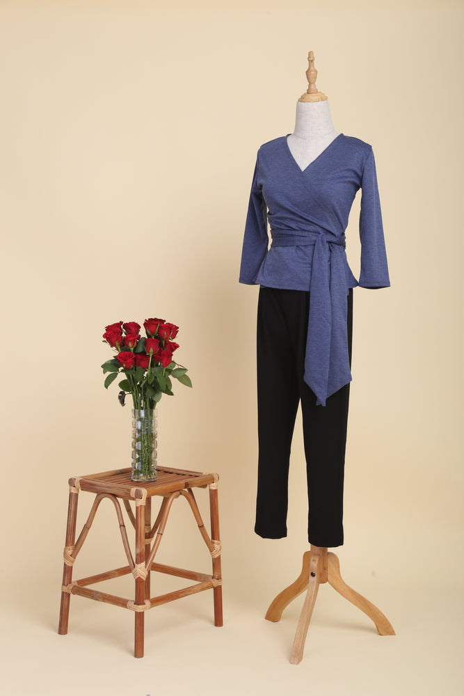 Double-cotton Wrap Top (Denim)