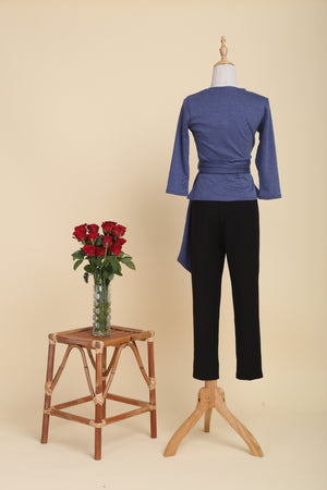 Load image into Gallery viewer, Double-cotton Wrap Top (Denim)