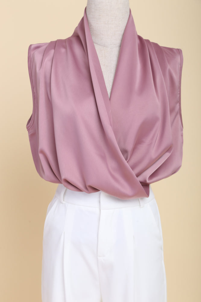 Sleeveless Drape Top (Mauve)