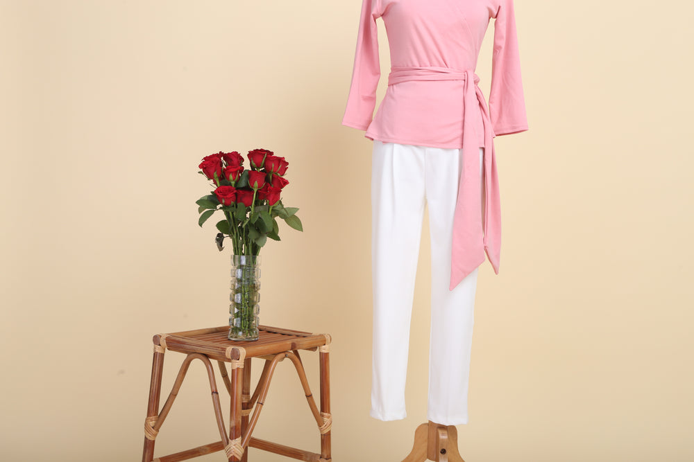 Double-cotton Wrap Top (Baby Pink)