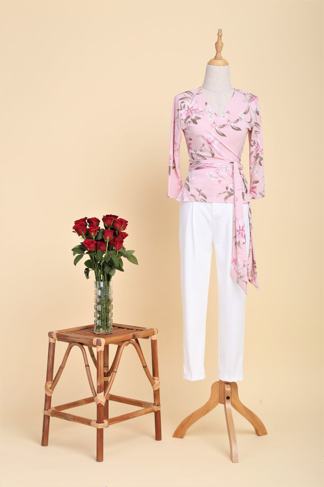 Pink Lilies Wrap Top