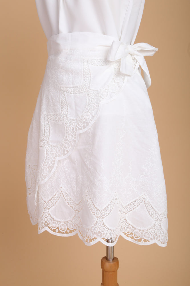[BUY 1 FREE 1]: Tessa White Embroidered Wrap Skirt
