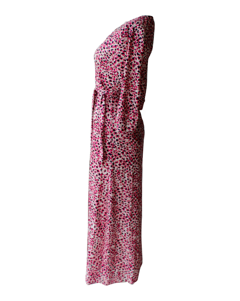 Pink Confetti Maxi Wrap Dress