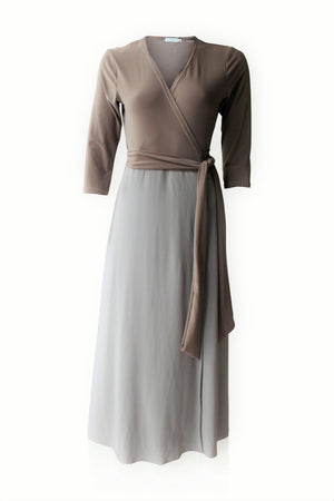 Load image into Gallery viewer, Dusty Mocha Maxi Wrap Dress