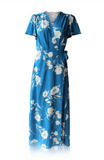 Blue Georgia Maxi Wrap Dress