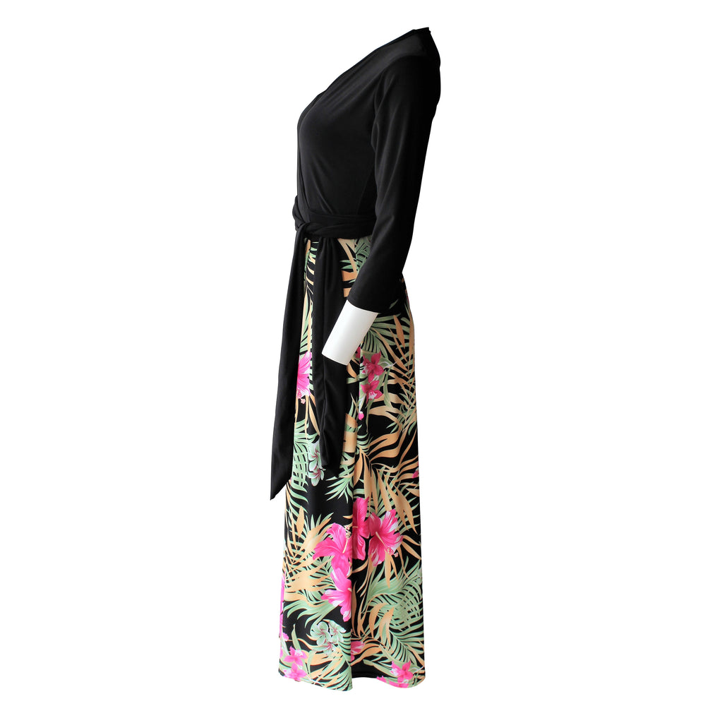 Tropical Flores Maxi Wrap Dress