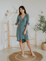 Tiffany Hi-Lo Side Tie Wrap Dress (Smoke Blue)