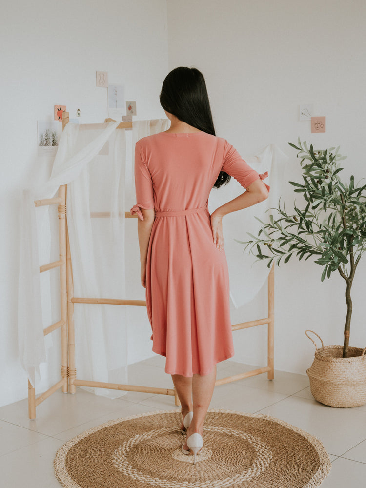 Tiffany Hi-Lo Side Tie Wrap Dress (Salmon)
