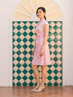 Cherry Blossom Mandarin Collar Convertible Midi Wrap Dress