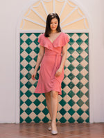 Phoebe Flounce Wrap Dress (Salmon)