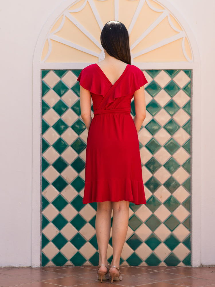 Phoebe Flounce Wrap Dress (Scarlet)