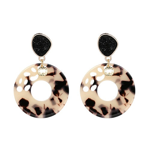 Black Rose Acrylic Drop Earring