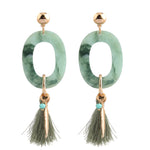 Emerald Tassel Dangle Earring