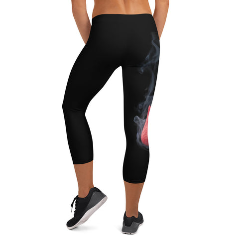 Smokey Rose Bud Capri Leggings