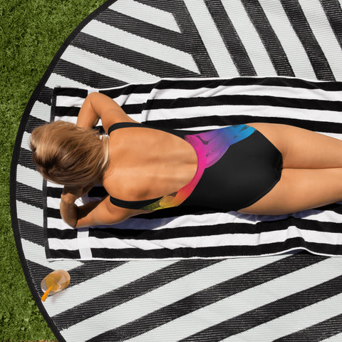 Rainbow Dreams Blk One-Piece Swimsuit