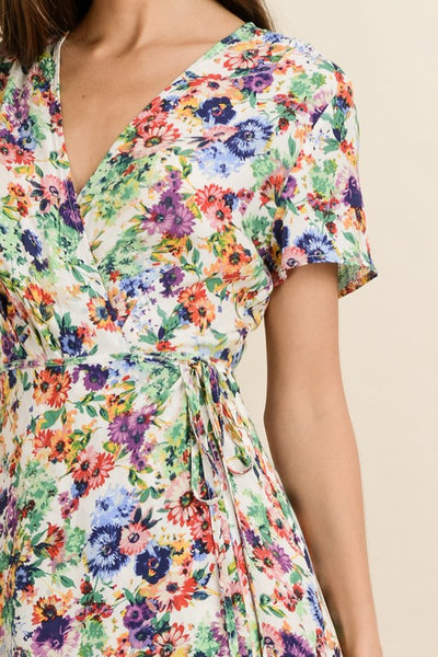 BLOOMING FLORAL PRINT WRAP DRESS