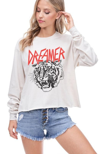 DREAMER TIGER CROPPED GRAPHIC TOP