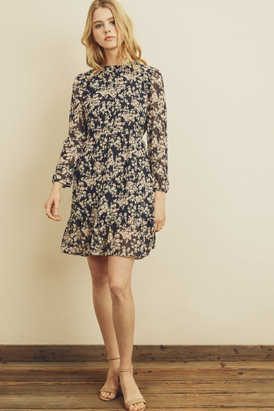 FLORAL PLEATED HIGH NECK DRESS