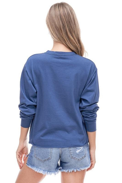 DREAM ON DREAMER CROPPED GRAPHIC TOP - INDIGO  BLUE