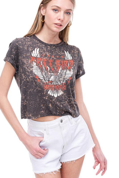 FREE BIRD AMERICA CROPPED BURN OUT GRAPHIC TOP