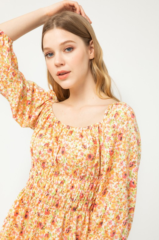 FLORAL PRINT BUBBLE SLEEVE DRESS - PEACH