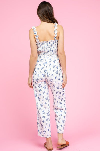 SMOCKED TOP WHITE AND BLUE JUMPSUIT