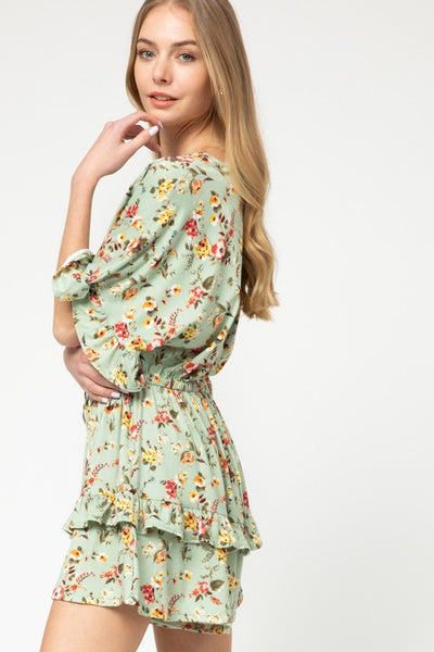 FLORAL TIERED RUFFLE ROMPER