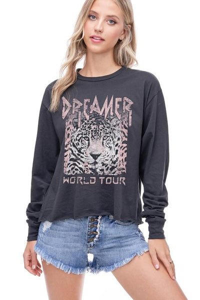 DREAMER WORLD TOUR GRAPHIC CROPPED TOP