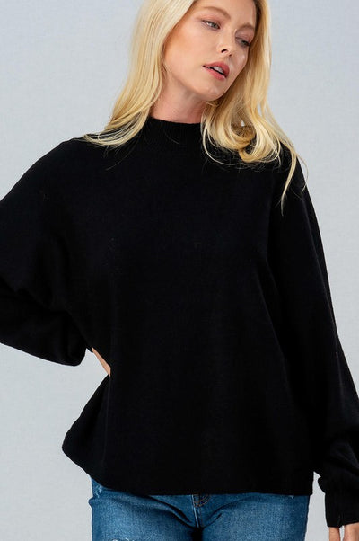 DOLMAN PUFF SLEEVE KNIT SWEATER - BLACK