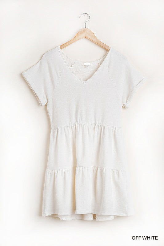 V-NECK TIERED DRESS - OFF WHITE
