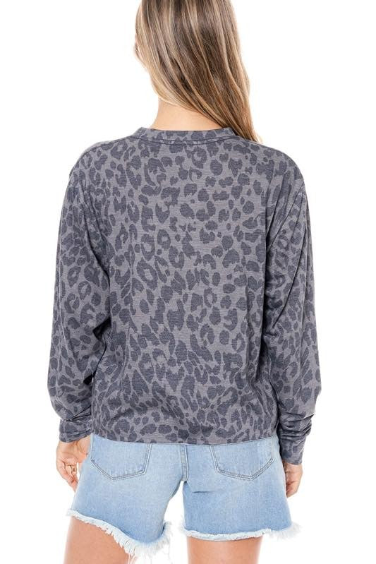 LONG LIVE ROCK N ROLL CHEETAH GRAPHIC SWEATER